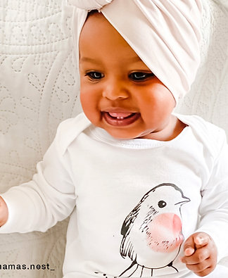 Little Robin Organic Cotton Baby Sleepsuit with Mitts