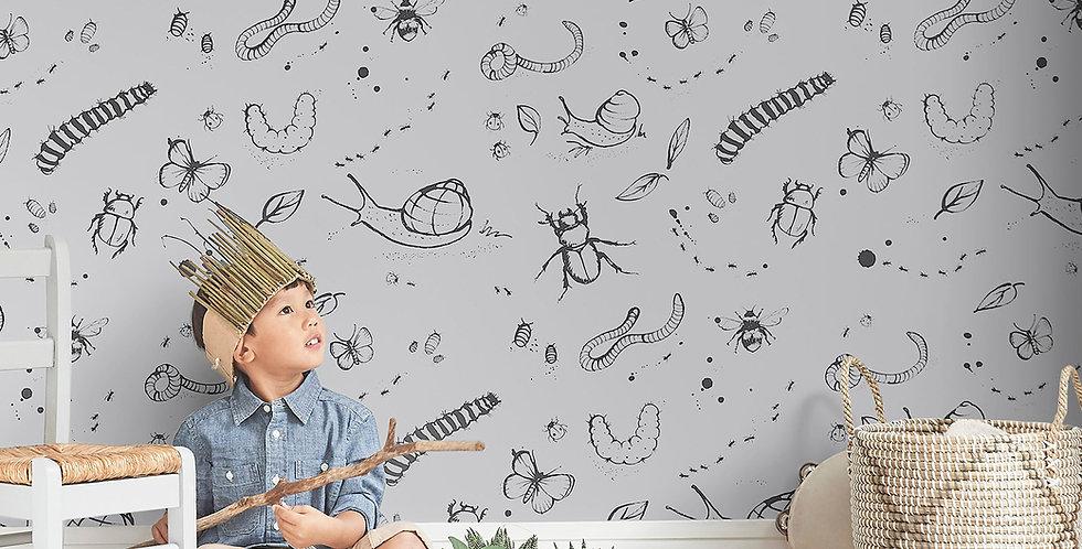Mini Beasts Wallpaper - Grey