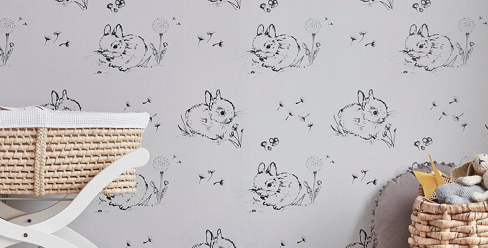 Little Bunny Wallpaper - Grey