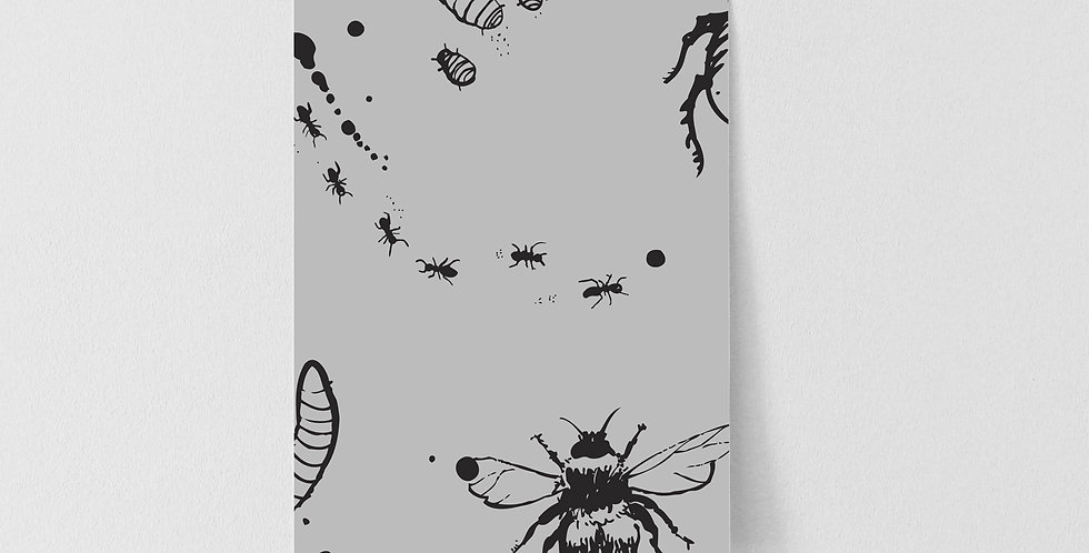 Sample Mini Beasts Wallpaper - Grey