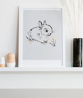 Little Bunny Art Print  - Soft Grey