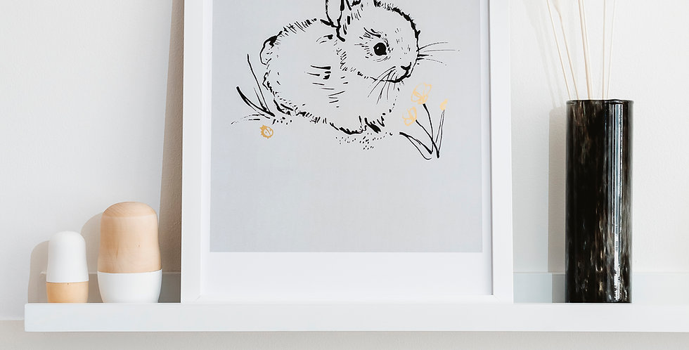 Little Bunny Art Print  - Soft Grey