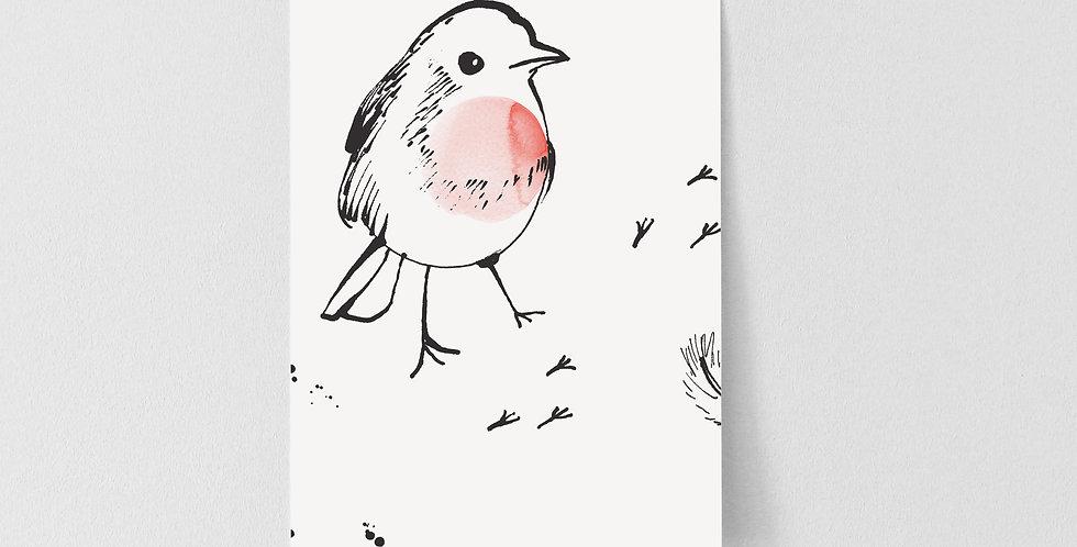 Sample Little Robin Wallpaper - White