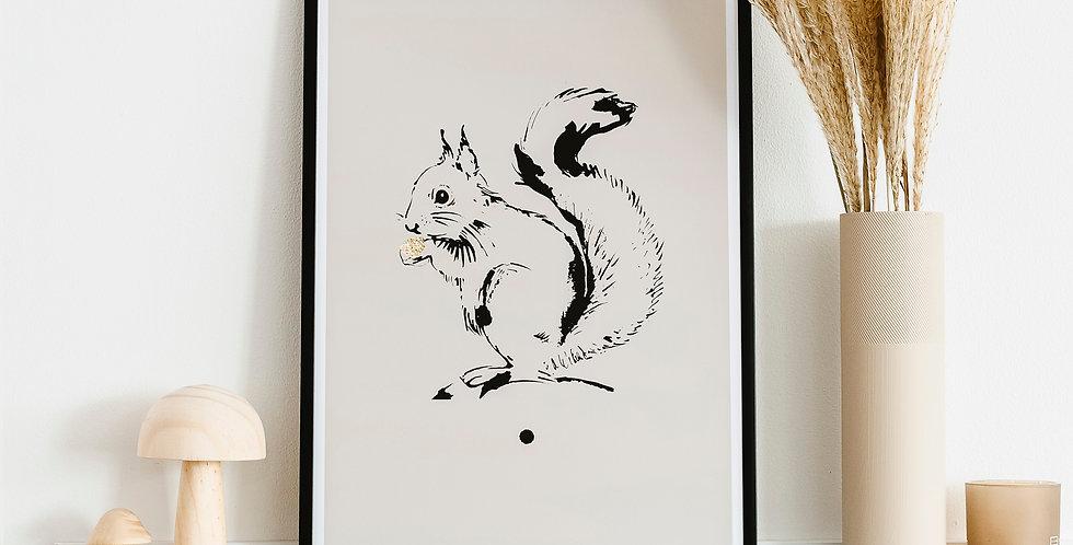Little Squirrel  Art Print - Putty