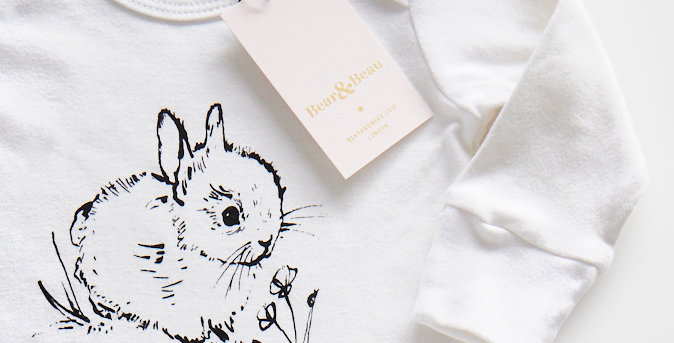 Little Bunny Organic Cotton Baby Sleepsuit with Mitts