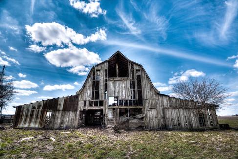Wood Barn Blue Sky