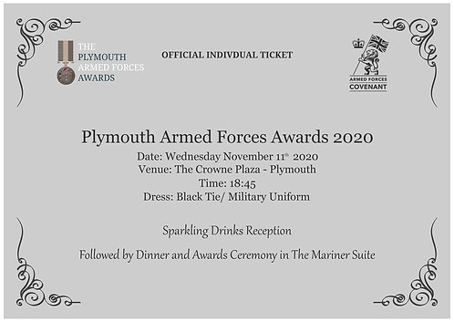 The Plymouth Armed Forces Awards 2020 | Individual Tickets