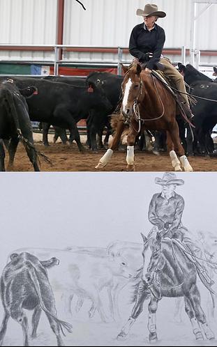 Performance Horse Portrait - 8x10 Pencil