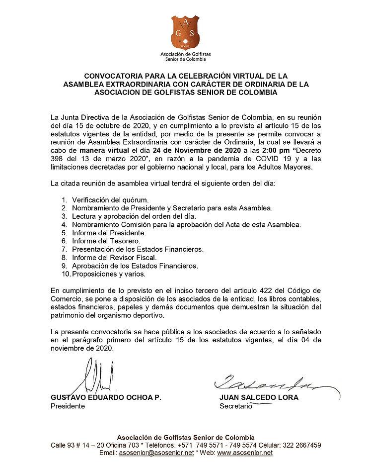 CONVOCATORIA A REUNION DE ASAMBLEA ASOSE