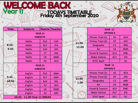 Friday 4th Timetable