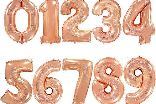 Цифры розовое золото 85см