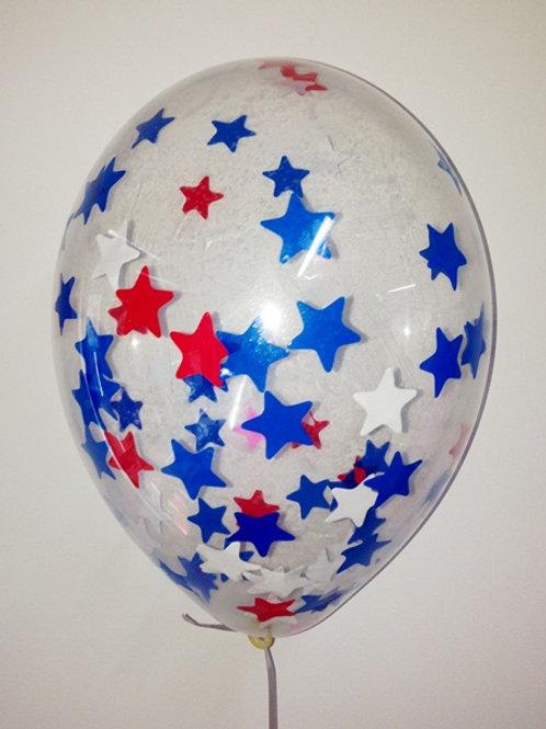 Шарик с конфетти 12д (30см) звезды микс 1