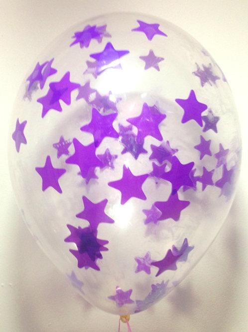 Шарик с конфетти 12д (30см) звезды фиолетовые