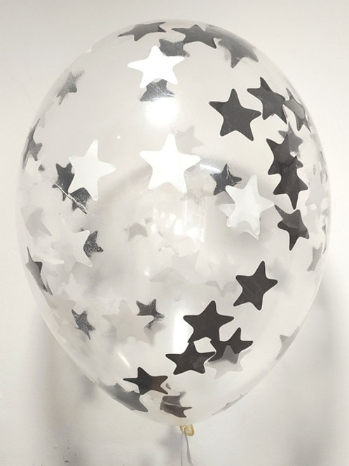 Шарик с конфетти 12д (30см) звезды микс 8