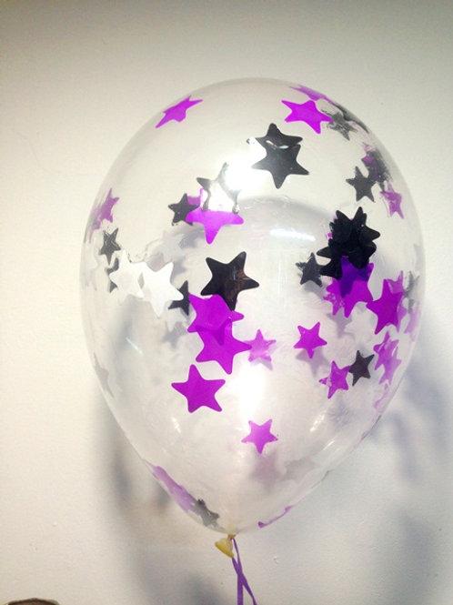 Шарик с конфетти 12д (30см) звезды микс 3