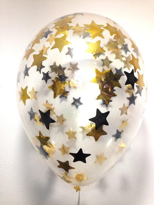 Шарик с конфетти 12д (30см) звезды микс 6