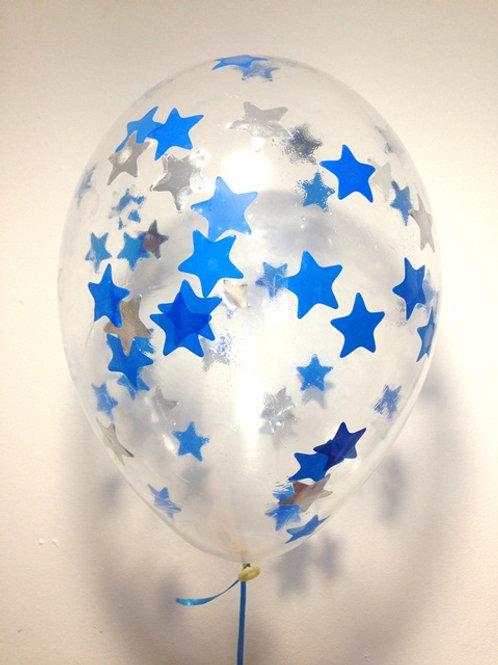 Шарик с конфетти 12д (30см) звезды микс 4