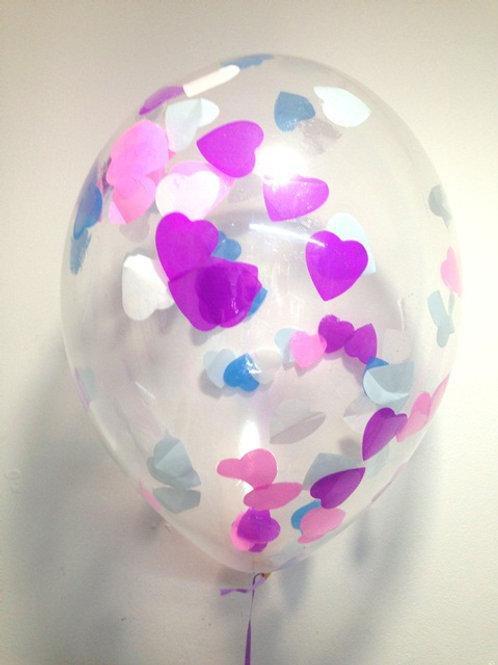 Шарик с конфетти 12д (30см) сердца микс 2