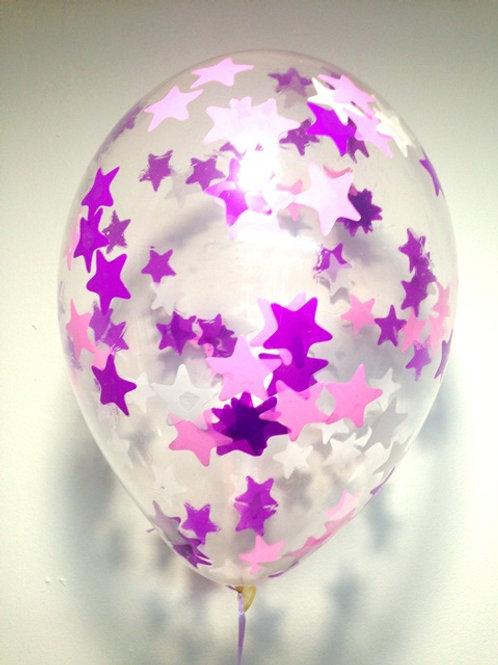 Шарик с конфетти 12д (30см) звезды микс 5