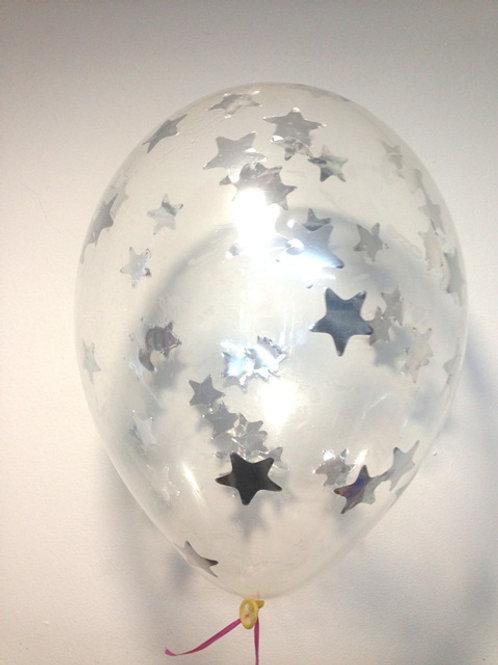 Шарик с конфетти 12д (30см) звезды серебро