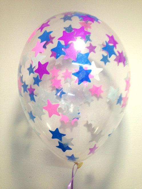 Шарик с конфетти 12д (30см) звезды микс 7