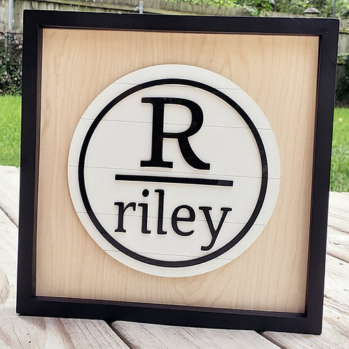Modern Monogram Name Wooden Sign