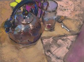 Tea kettles, tea time, still lifes, still life, art, contemporary