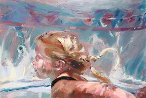Children's pastel portraits, pastel portrait, swimmer, girl, art, pastel