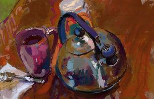 Tea kettle, tea kettles, impressionist, tea time, warm, color, beautiful art