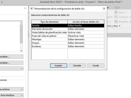 Restaurar acciones por defecto y teclas de atajos de teclado, y personalizar doble clic en Revit