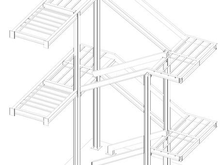Escalera de emergencia del edificio del centro-socio cultural del barrio de la luz