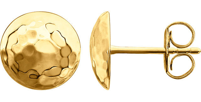 14K Yellow Gold Hammered Disk Earrings
