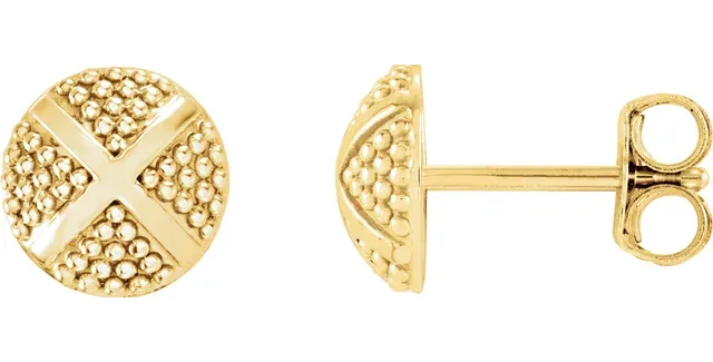 14K Yellow Gold Granulated X Earrings