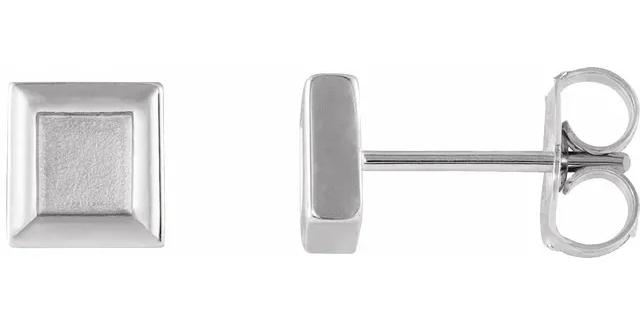 Platinum Square Petite Earrings