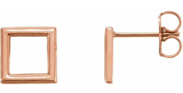 14K Rose Gold Square Earrings