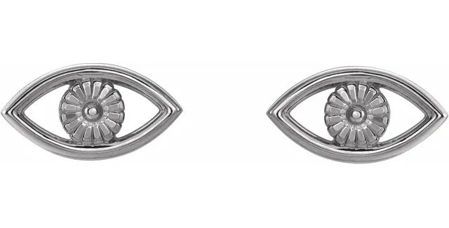 Platinum Evil Eye Earrings