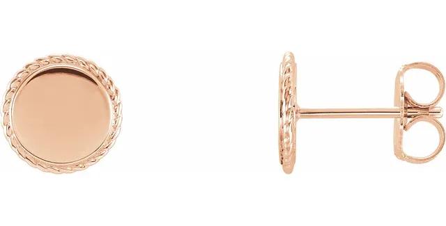 14K Rose Gold Engravable Rope Earrings