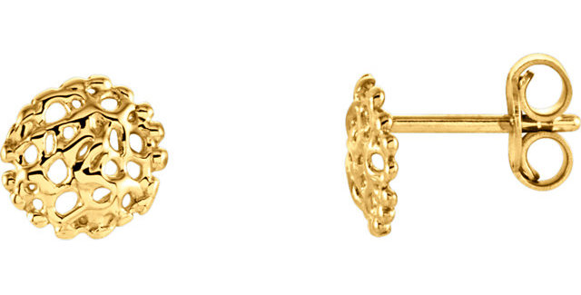 14K Yellow Gold 8 mm Textured Stud Earrings
