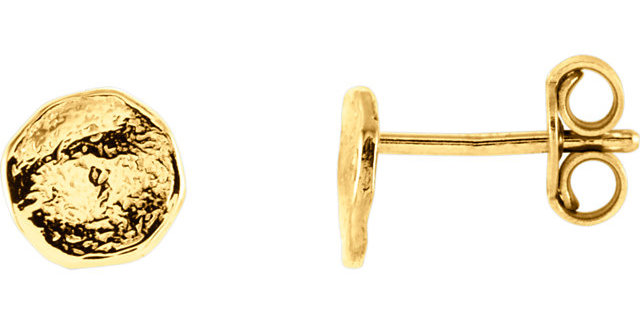 14K Yellow Gold Textured Earrings