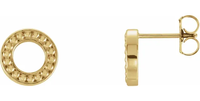 14K Yellow Gold Beaded Stud Earrings