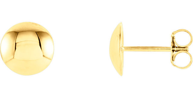 14K Yellow Gold Convex Circle Earrings