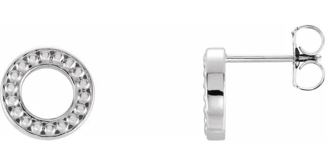 14K White Gold Beaded Stud Earrings
