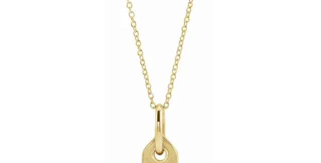 "14K Yellow Gold Initial J .05 CT Diamond 16-18"" Necklace"