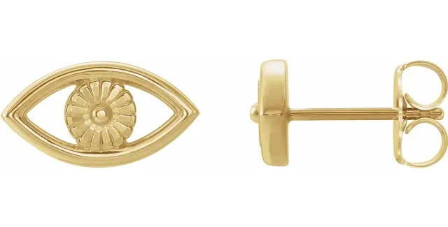 14K Yellow Gold Evil Eye Earrings