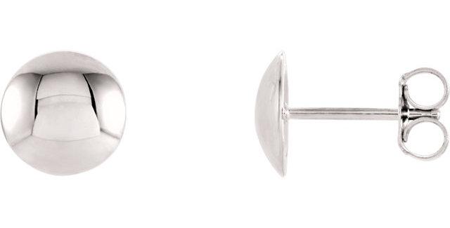 14K White Gold Convex Circle Earrings