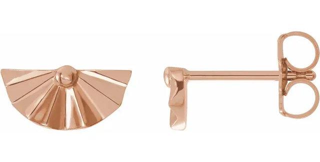 14K Rose Gold Geometric Earrings