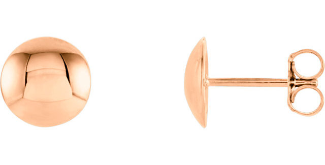 14k Rose Gold Convex Circle Earrings