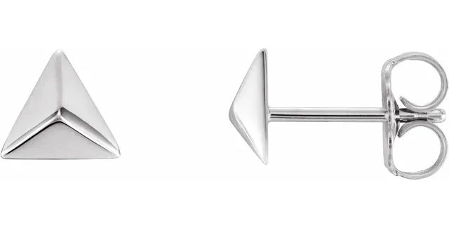 Platinum Pyramid Earrings