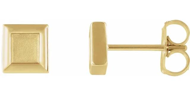 14K Yellow Gold Square Petite Earrings