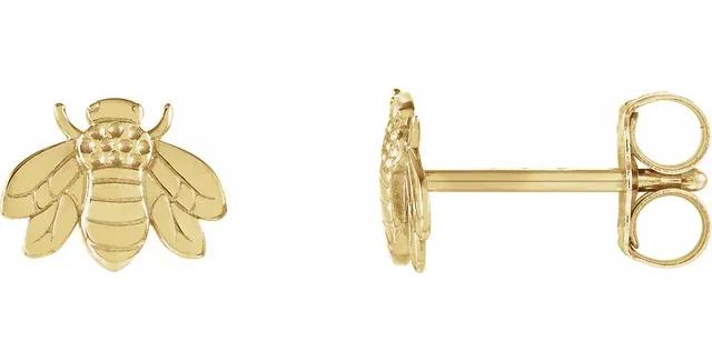 14K Yellow Gold Bumblebee Earrings